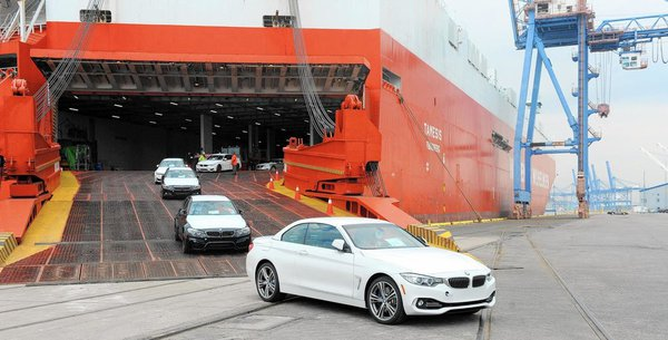 Cars unloading from a  ship