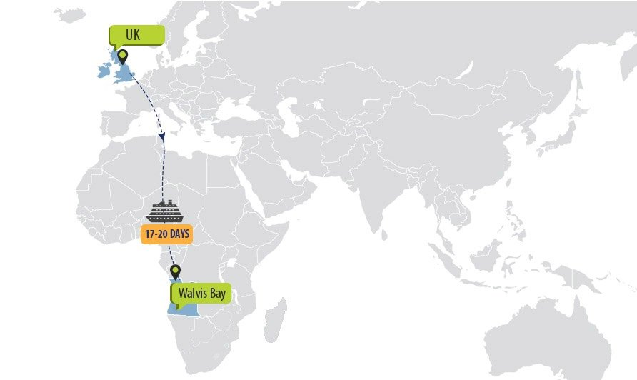 Shipping timings from the UK to Walvis Bay